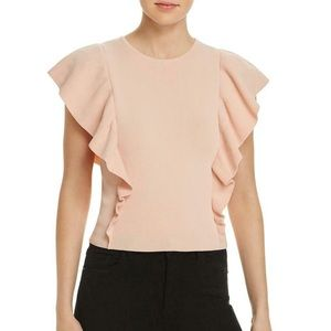 NWT Lucy Paris Ruffled Crew Neck  Top